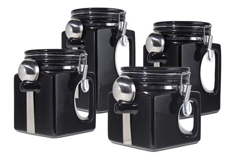 black ceramic canister sets kitchen wonderful kitchen black canister sets for kitchen with