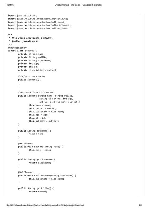 tutorialspoint list jaxb unmarshal xml to pojo tutorialspoint exles