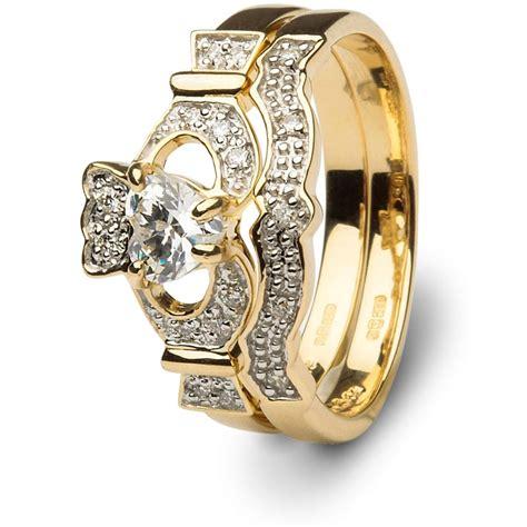 claddagh ring set claddagh engagement wedding ring set sl 14l68dd set