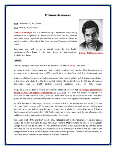 Srinivasa Ramanujan Essay by Great Personalities Related To Science
