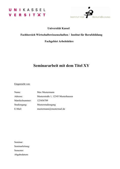 Word Vorlage Seminararbeit Word Vorlage Universit 228 T Kassel