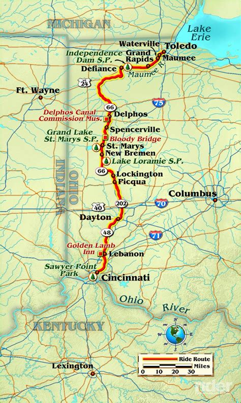 texas to ohio map the miami erie canal rider magazine