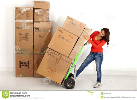 moving with a moving boxes with with a truck or dolly stock photo image 51559345