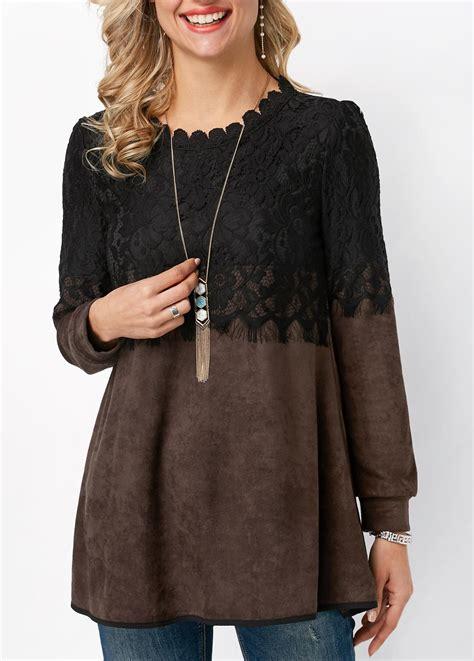 sleeve lace panel shirt scalloped neckline sleeve lace panel blouse rosewe