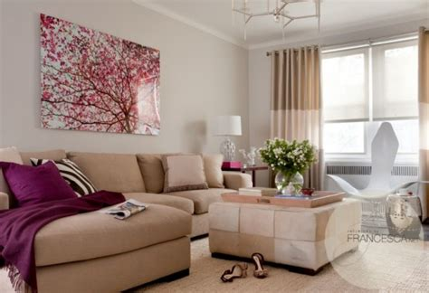 Neue Moderne Häuser by D 233 Co Couleurs Salon Beige Tableau Arbre Fleurs Le