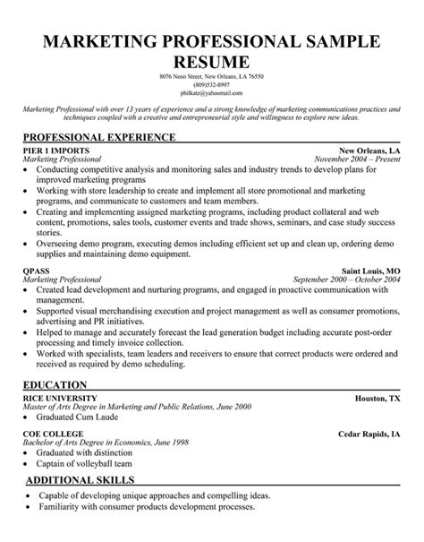 sle resume format for experienced marketing professional resume format for marketing professionals 28 images top sales resume templates sles b2b