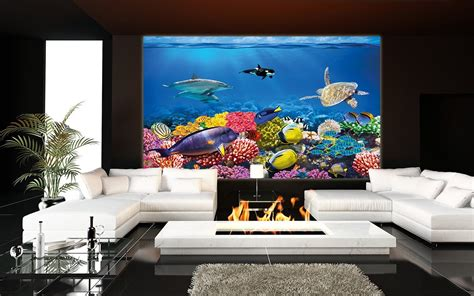 living room aquarium undersea coral reef photo wall paper will turn your wall