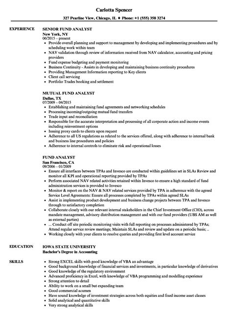 Fund Analyst by Fund Accountant Sle Resume Cover Letter For Phd Application Wanted Poster Layout