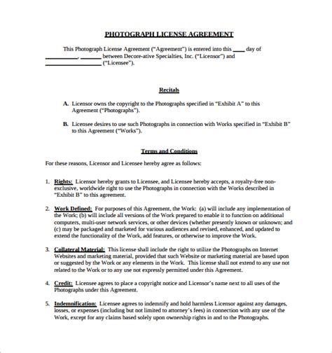 copyright license agreement template sle license agreement template 11 free documents in