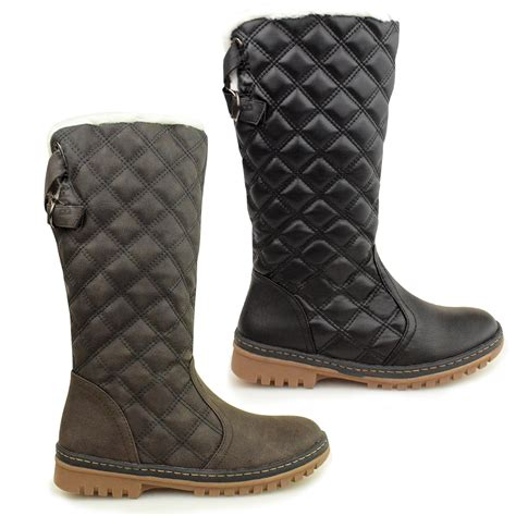womens flat calf knee high quilted fur lined winter