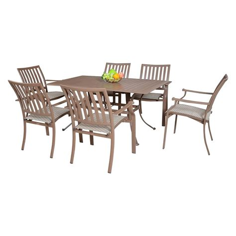 7pc Patio Dining Set Shop Hospitality Rattan Panama 7 Aluminum Dining Patio Dining Set At Lowes