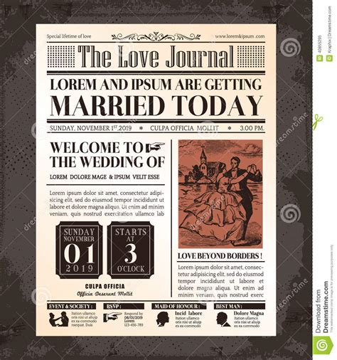 birthday card newspaper templates vintage newspaper wedding invitation card design stock