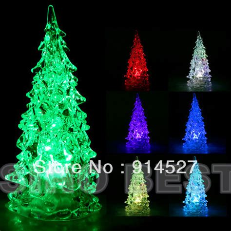 free shipping mini led crystal christmas trees 7 colored