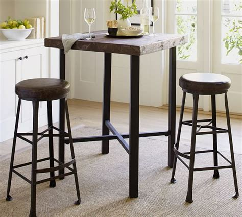 reclaimed wood bar height table griffin reclaimed wood bar height table pottery barn