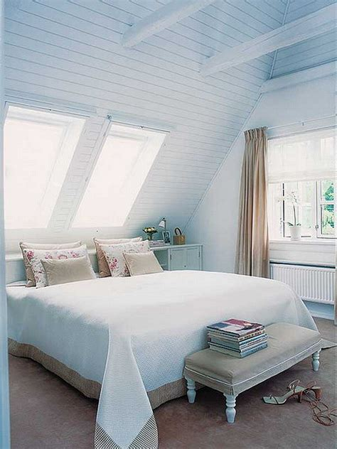 soft blue attic bedroom decoration
