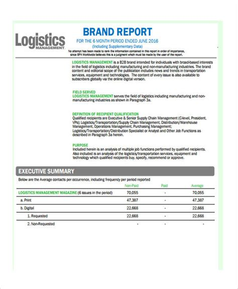 16 Management Report Exles Pdf Word Pages Logistics Monthly Report Template