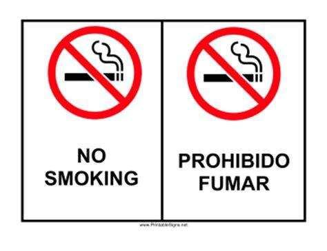 no smoking sign english and spanish printable no smoking bilingual sign