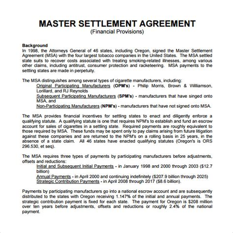 master agreement template sle master settlement agreement 10 free documents