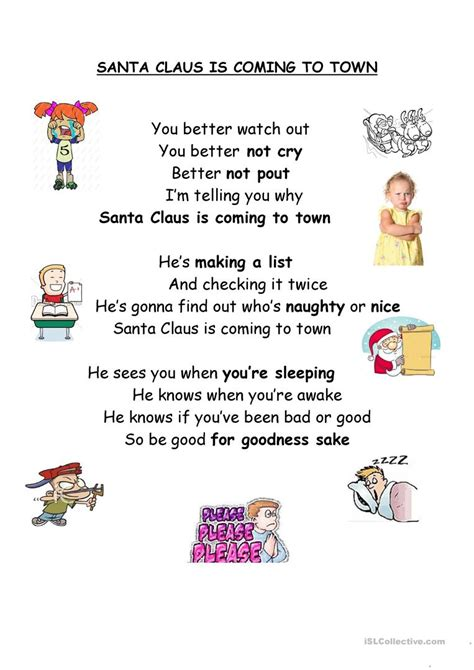 printable lyrics for santa claus is coming to town santa claus is coming to town worksheet free esl