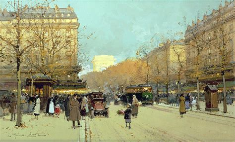 Parisian Duvet Cover Boulevard Haussmann In Paris Painting By Eugene Galien Laloue