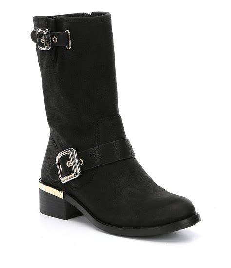 vince camuto windy leather buckled block heel mid