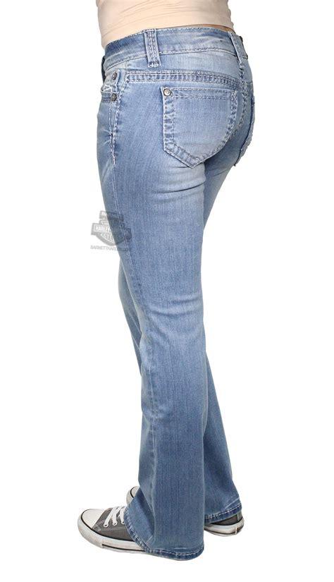 harley davidson womens boot cut embellished willie  skull  rise blue jeans