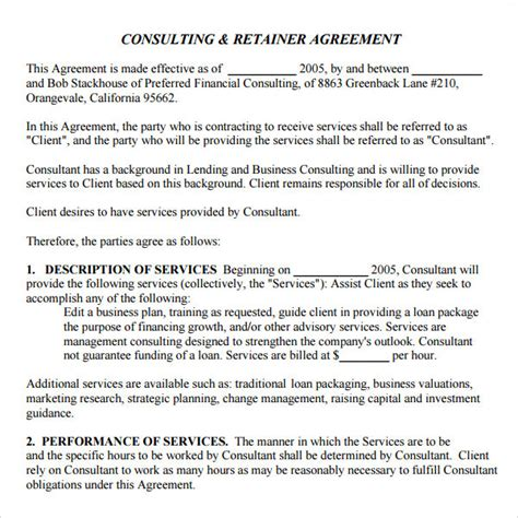 consulting fee agreement template retainer agreement 9 free documents in pdf