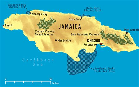physical map of jamaica jamaika physik karte