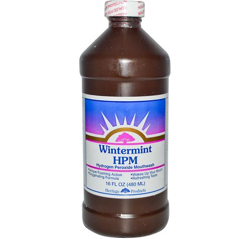 hydrogen peroxide for dogs heritage products hpm hydrogen peroxide mouthwash wintermint 16 fl oz 480 ml