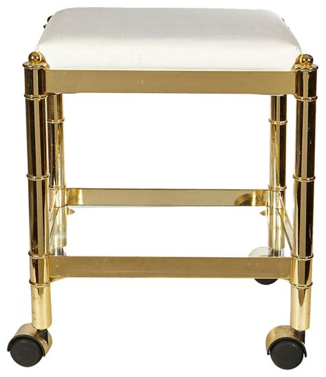 wheeled bar stools 1970s gilt bamboo style rolling stool contemporary bar