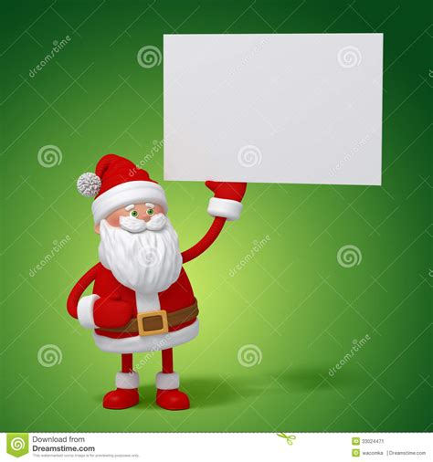free santa card templates 3d santa claus holding white card stock