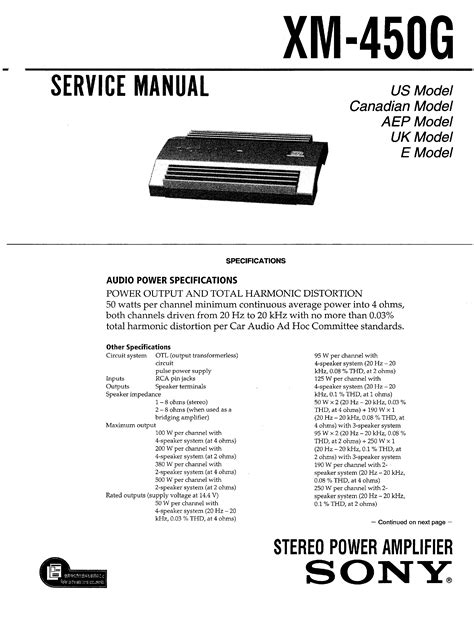 Sony Xm450g Service Manual Immediate Download