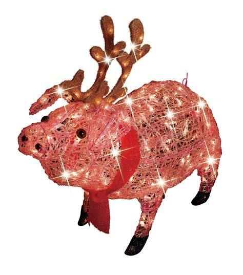 best lighted pig yard art trim a home 174 30in icy lighted pig with antlers