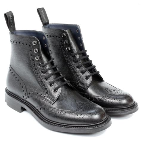 Boots Hitam Leather Grain Size 35 cheaney tweed g black grain wingcap brogue boot made in