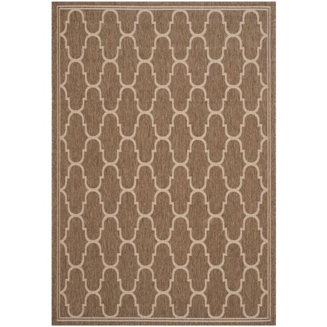 Safavieh Courtyard Brown Beige 8 Ft X 11 Ft 2 In Indoor Outdoor Rugs Home Depot