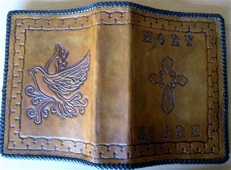 Handmade Bible - custom dove bible cover by rics leather custommade