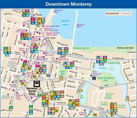 map monterey ca downtown monterey includes routes that travel through