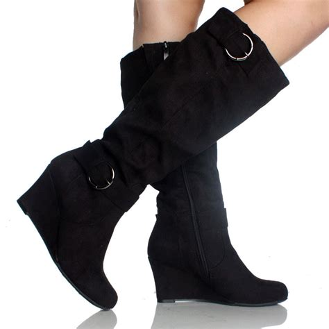 Bots Wedges black wedge boots buckle faux suede classic fashion