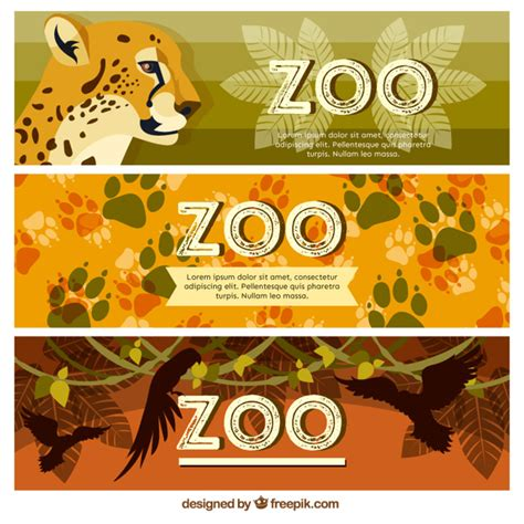 design a zoo online zoo banners with wild animals and footprints vector free