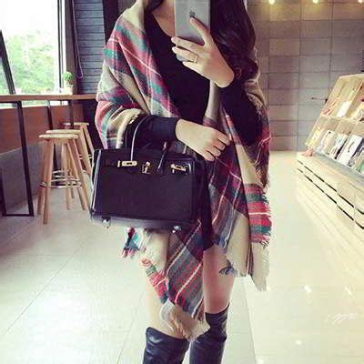 Syal Scarf Wool Rajut Coklat Syal Wanita syal musim dingin grid pattern simple multi color 01eb05 coat korea