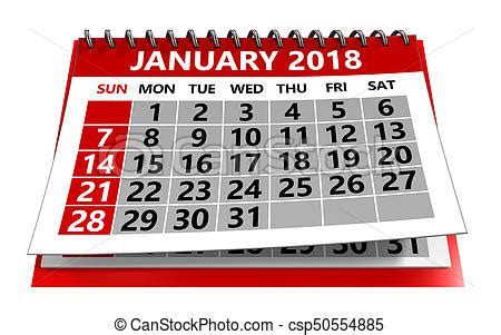 Switzerland Calendrier 2018 3d Illustration Of January 2018 Calendar Isolated