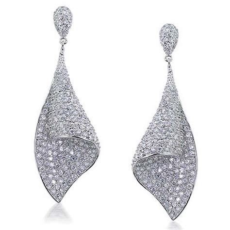 chandelier earrings deco cz pave shaped bridal chandelier earrings