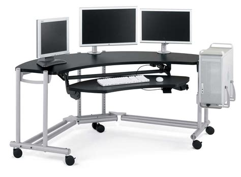 Metal Corner Computer Desk Black Metal Corner Office Computer Desk For 3 On Wheels Decofurnish