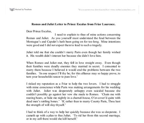 Complaint Letter Money Saving Expert Romeo And Juliet Letter To Prince Escalus From Friar Laurence A Level Marked By