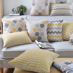 wholesales linen pillow cover yellow grey cushion cover nordico geometric style home decorative