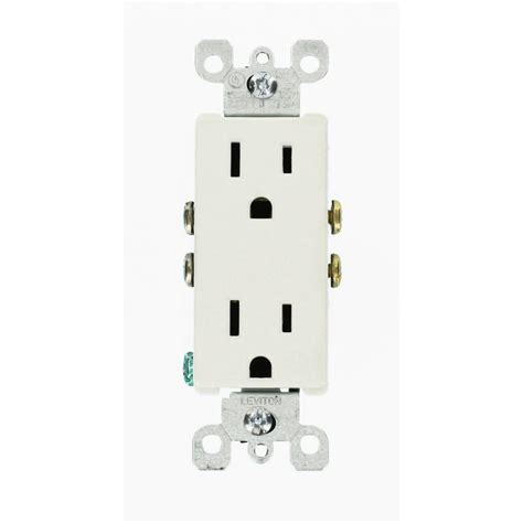 leviton decora 15 duplex outlet white 10 pack m24