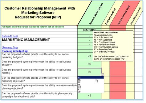 Rfp Template Features And Exles Crm Rfp Template