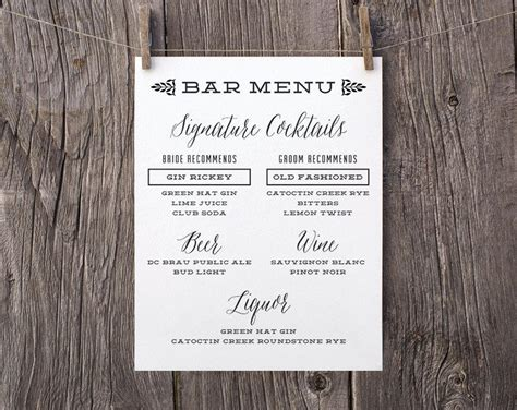 printable wedding signs custom bar menu sign signature