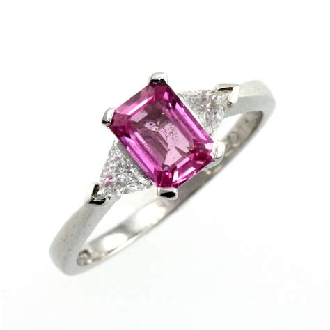 platinum emerald cut pink sapphire ring from