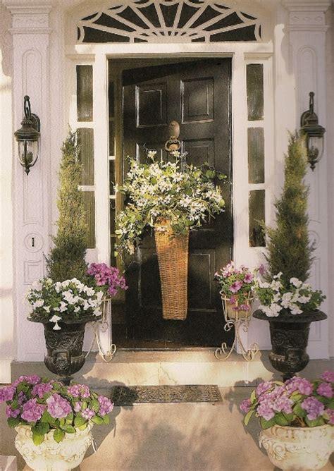 door flower designs floral autumn basket instead of a wreath for the front door